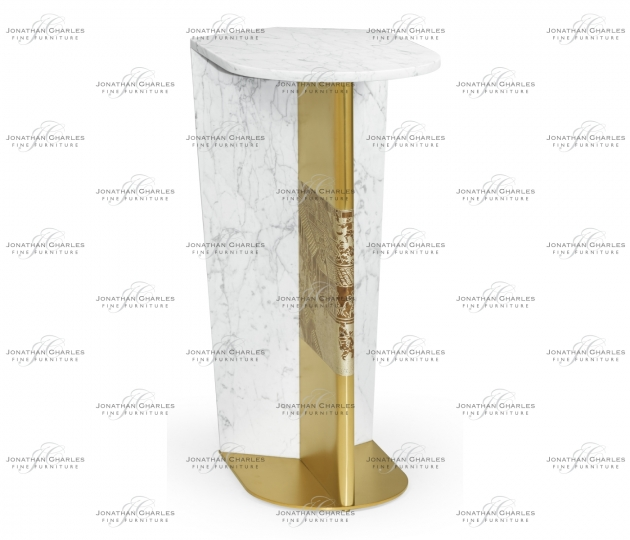 small rushmore Fusion White Marble & Brass End Table