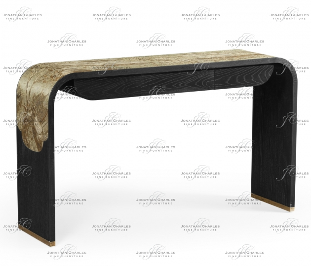 small rushmore Curved Chinoiserie Style Antique Etched Brass & Ebonised Oak Console Table