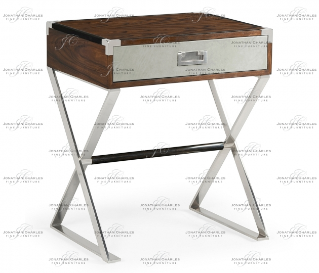 small rushmore Campaign Style Dark Santos Rosewood Bedside Table with Drawer
