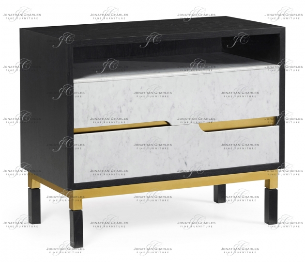 small rushmore Contemporary Ebonised Oak & White Calcutta Marble Bedside Chest of Drawers