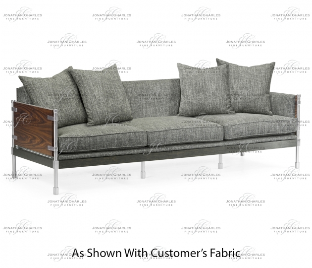 small rushmore Campaign Style Dark Santos Rosewood Sofa, Upholstered in COM
