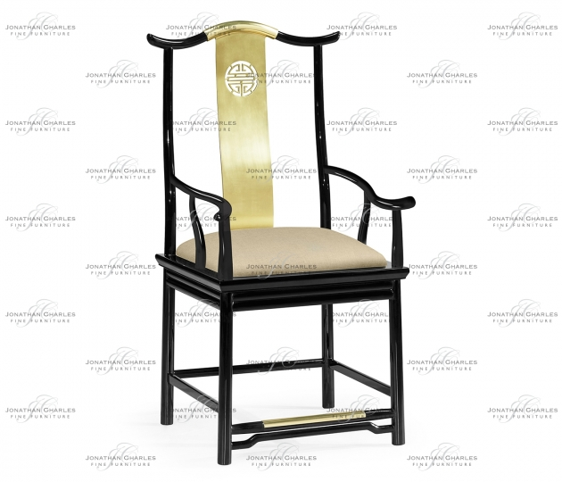small rushmore Asian Fusion Black Gloss & Brass Dining Arm Chair, Upholstered in MAZO