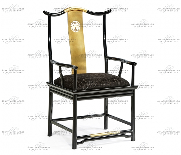 small rushmore Fusion Black Gloss Dining Arm Chair
