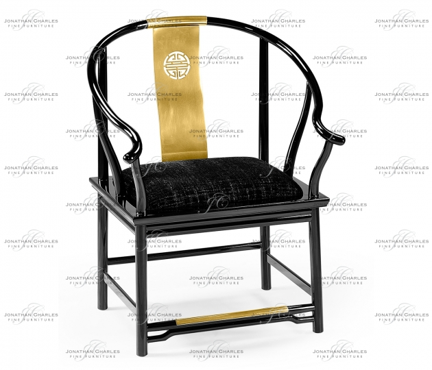 small rushmore Fusion Rounded Black Gloss Dining Arm Chair