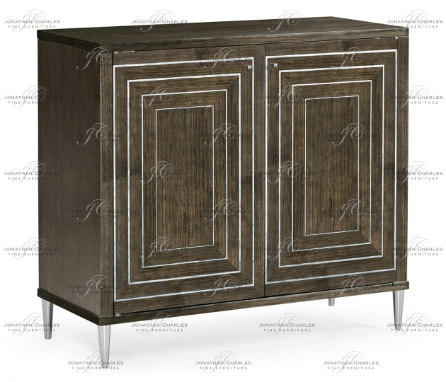 small rushmore Gatsby Contemporary Dark Grey Walnut & MOP Storage Cabinet