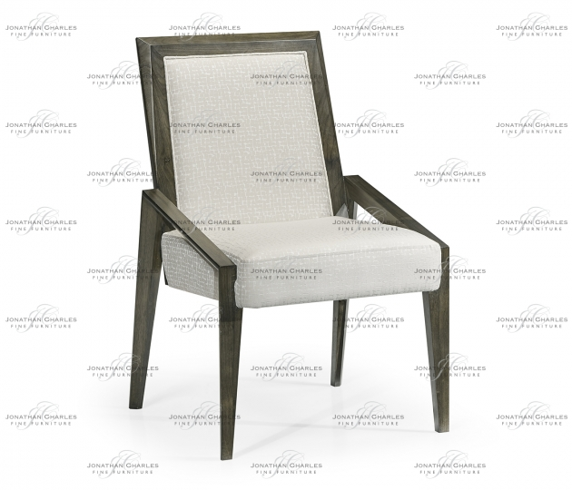 small rushmore Gatsby Contemporary Dark Grey Walnut Dining Side Chair, Upholstered in COM