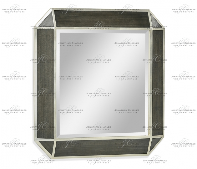 small rushmore Gatsby Contemporary Square Bevelled Dark Grey Walnut & Champagne Silver-leaf Hanging Mirror