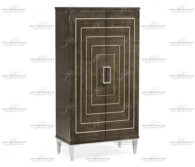 small rushmore Gatsby Contemporary Dark Grey Walnut & MOP Storage Cabinet