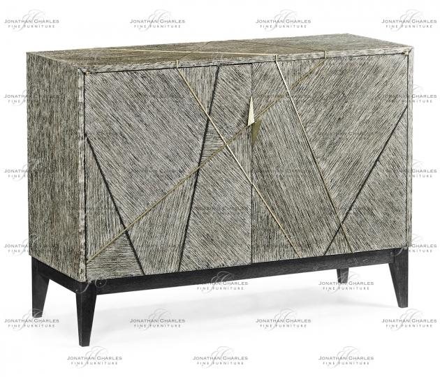 small rushmore Geometric Dark French Oak Low Storage Cabinet