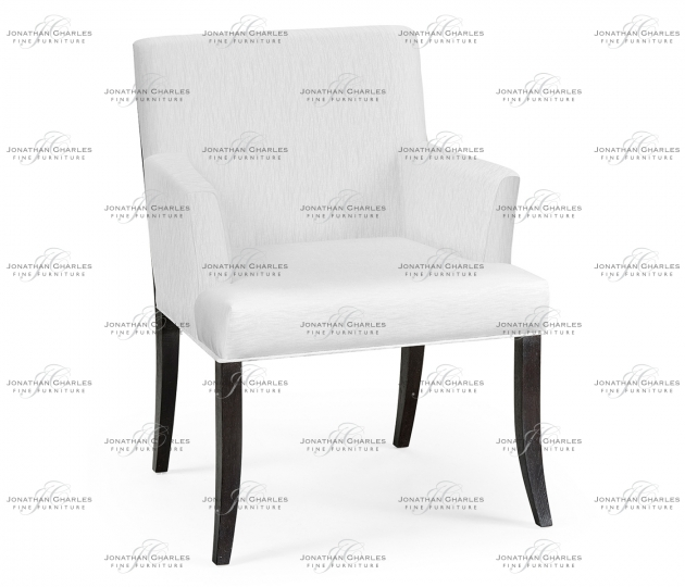 small rushmore Geometric Black Mocha Oak Dining Arm Chair, Upholstered in COM