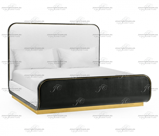 small rushmore Fusion Curved Ebonised Oak Cali King Bed, Upholstered in COM