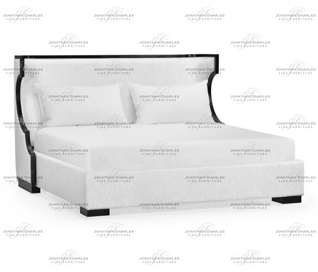 small rushmore Fusion Rounded Ebonised Oak US King Bed, Upholstered in COM