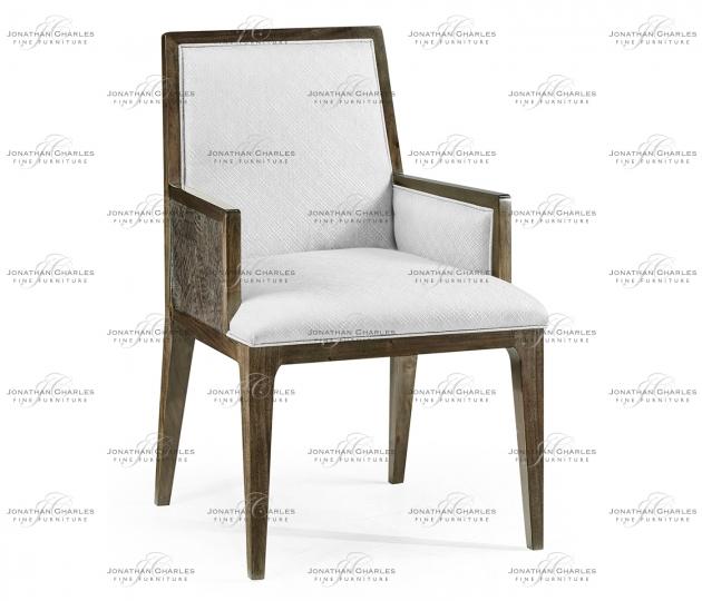 small rushmore Gatsby Dark Grey Walnut & Random Cut Pattern Dining Arm Chair, Upholstered in COM by Distributor
