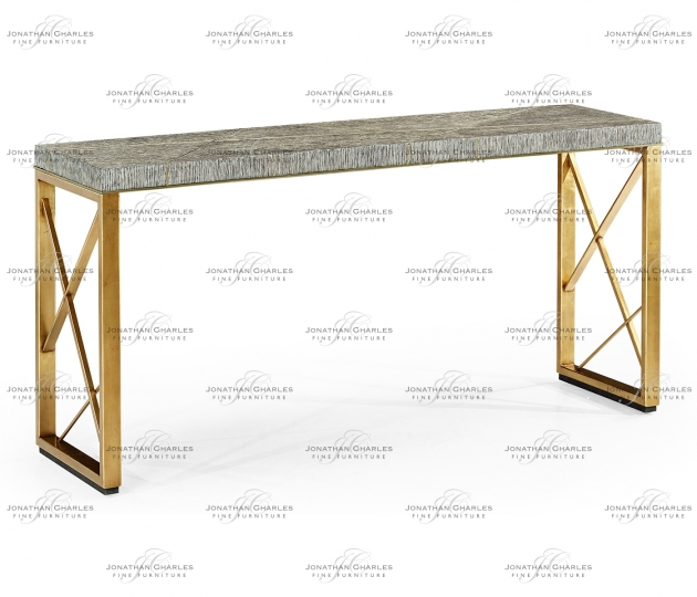 small rushmore Geometric Dark French Oak & Gilded Console Table