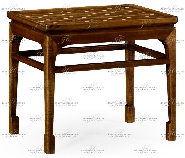 small rushmore Leyburn Natural Acacia & Polka Dot Mini Table