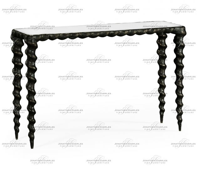 small rushmore Karinta Antique Brass Console Table with Antique Mirror Top