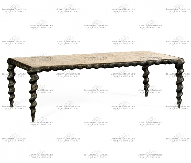 small rushmore Karinta Antique Brass Coffee Table with Oyster Veneer Top