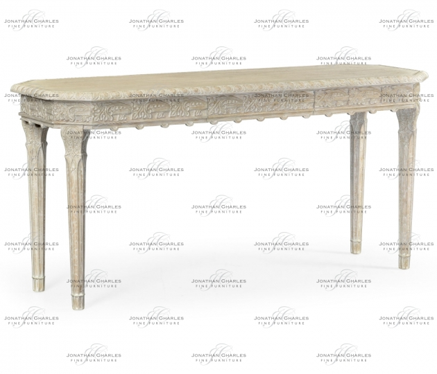 small rushmore Bellefontaine Venetian White Oak Console Table
