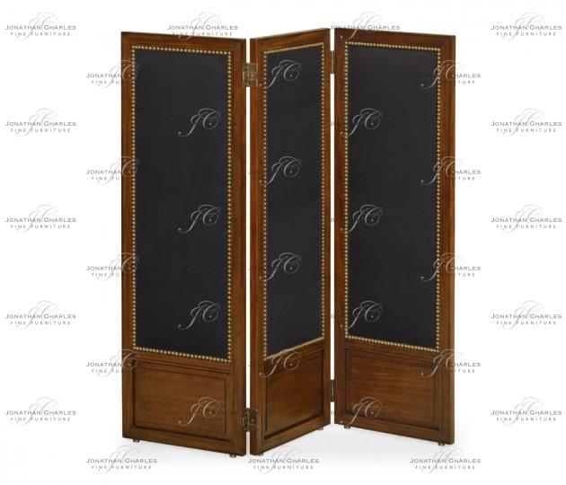 small rushmore Medium Mahogany & Black Linen Folding Screen