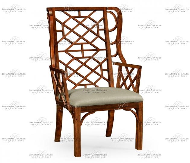 small rushmore Imperial Mahogany Lattice Back Wing Chair, Upholstered in MAZO