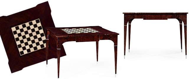 495400-BEC - Backgammon and Chess Games Table in Black Eucalytus
